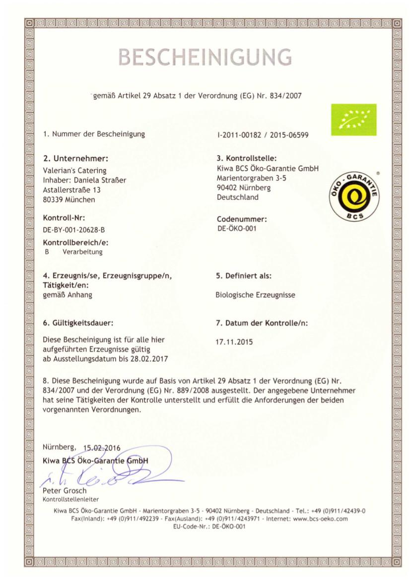 Bio-Zertifikat 2016